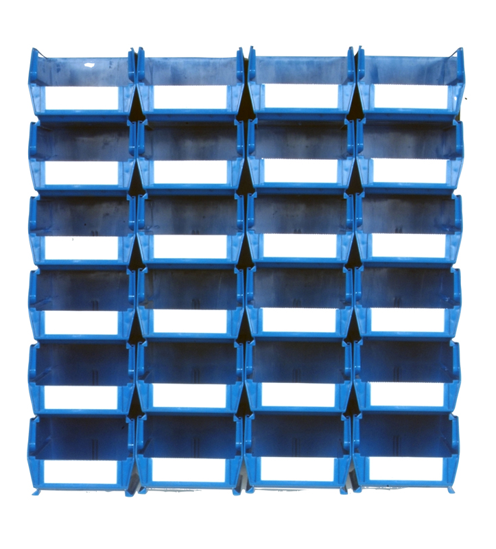 Wall Storage-Med Blue Bins/Rails 26 CT