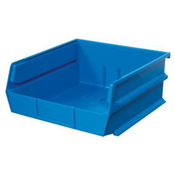 "Stacking, Hanging, Interlocking Polypropylene Bins, 10 7/8"" X 11"" X 5"" Blue, 6-Pack"