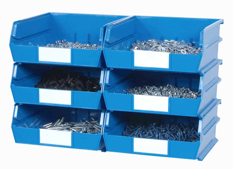 Wall Storage - Lg Blue Bins/Rails 8 CT