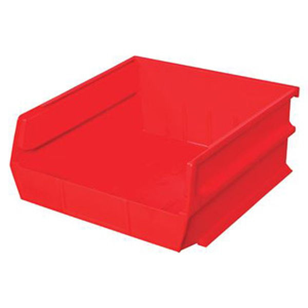 "Stacking, Hanging, Interlocking Polypropylene Bins, 10 7/8"" X 11"" X 5"" Red, 6-Pack"