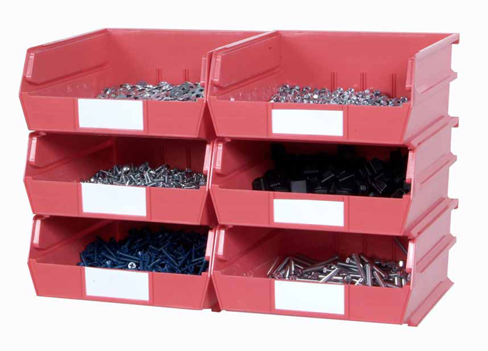 Wall Storage - Lg Red Bins/Rails 8 CT