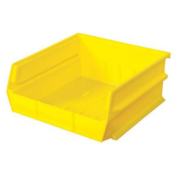 "Stacking, Hanging, Interlocking Polypropylene Bins, 10 7/8"" X 11"" X 5"" Yellow, 6-Pack"