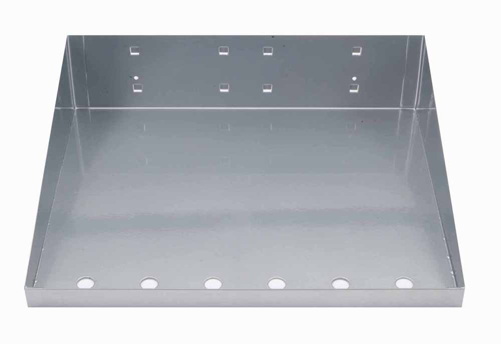 "12""W x 10""D Silver Epoxy Powder Coated LocBoard Steel Shelf with 6 Holes for Garment Hangers"