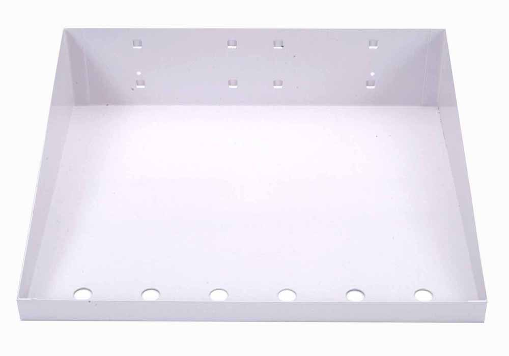 "12""W x 10""D White Epoxy Powder Coated LocBoard Steel Shelf with 6 Holes for Garment Hangers"