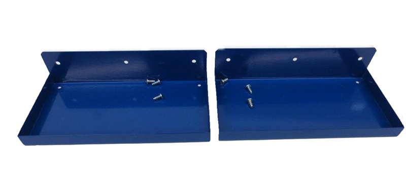 "12"" W x 6"" Deep Blue Epoxy Coated Steel Shelf for DuraBoard or 1/8"" and 1/4"" Pegboard"