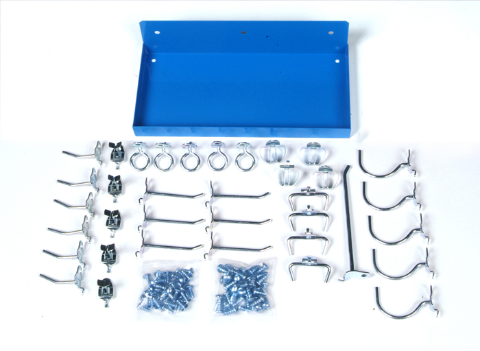 "12"" W x 6"" Deep Blue Epoxy Coated Locking Steel Pegboard Shelf with 36 pc. DuraHook locking pegboard hook assortment"