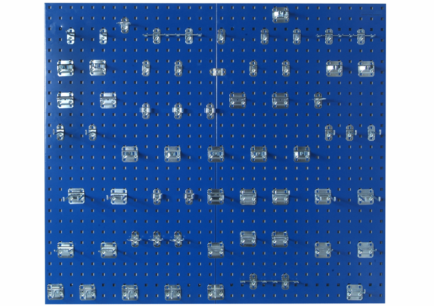 (2) 24inW x 42-1/2inH x 9/16inD Blue Epoxy 18 Gauge Steel Square Hole Pegboards w/63 pc. LocHook Assortment