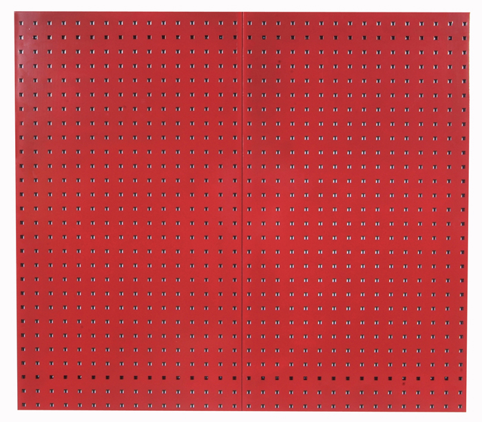 """Red Epoxy, 18 Gauge Steel Square Hole Pegboards, Set of 2, 24""""x 42-1/2""""x 9/16"""""""