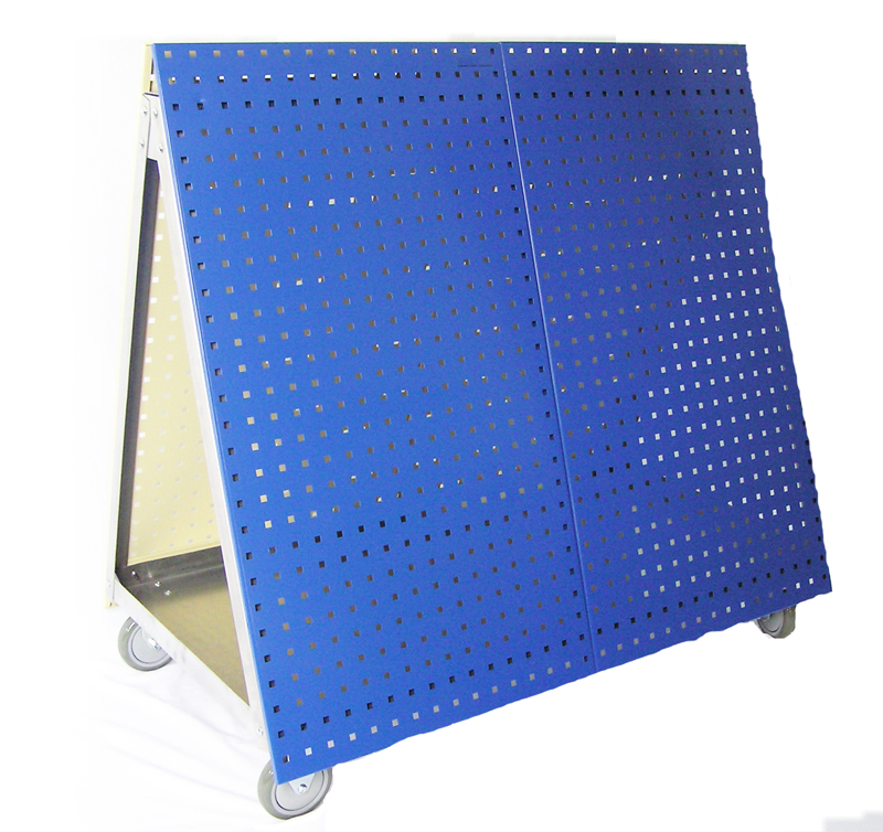 48in L x 46in H x 26-5/8in W Anodized Aluminum Frame Tool Cart with Tray and Blue LocBoard