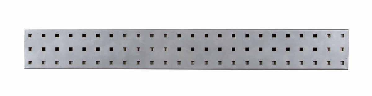 "(1) 36""W x 4.5""H Silver Epoxy, 18 Gauge Steel Square Hole Pegboard Strip"