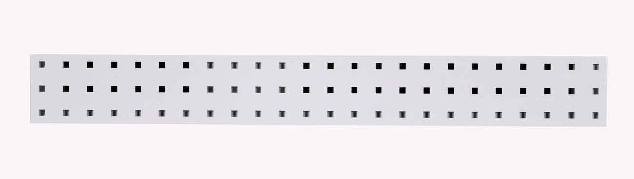 "(1) 36""W x 4.5""H White Epoxy, 18 Gauge Steel Square Hole Pegboard Strip"