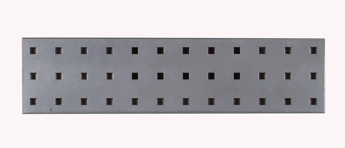 "(1) 18""W x 4.5""H Silver Epoxy, 18 Gauge Steel Square Hole Pegboard Strip"
