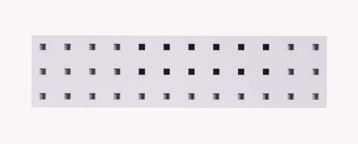 "(1) 18""W x 4.5""H White Epoxy, 18 Gauge Steel Square Hole Pegboard Strip"
