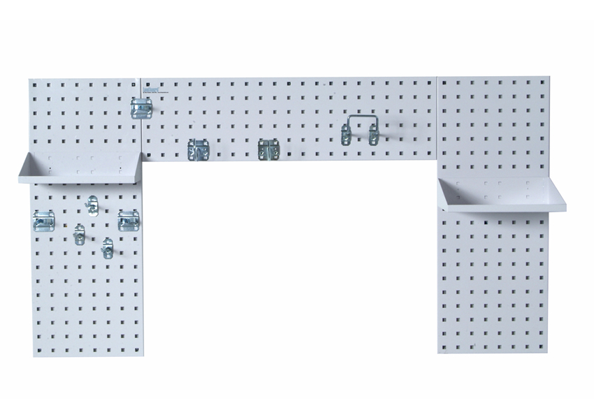 White Laundry Room Organizer Kit with (3) 18 Gauge Steel Square Hole Pegboard, (2) Steel Shelves and 9 pc. LocHook Assortment