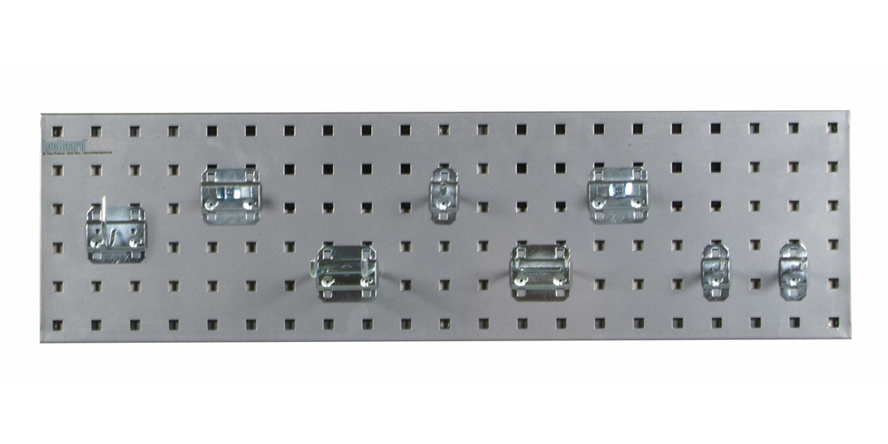 "Silver Garden Storage Kit with (1) 31.5""x 9""18 Gauge Steel Square Hole Pegboard and 8 pc LocHook Assortment"