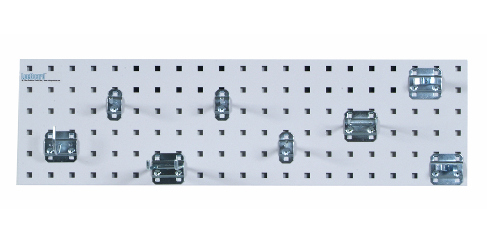 """White Garden Storage Kit with (1) 31.5""""x 9""""18 Gauge Steel Square Hole Pegboard and 8 pc LocHook Assortment"""