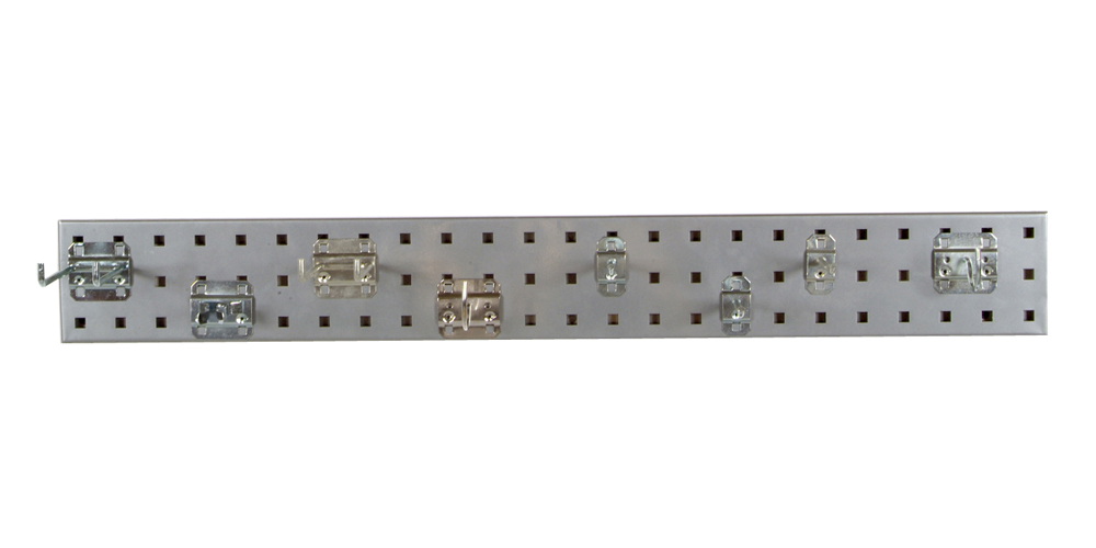 """Silver Garden Pegboard Kit with (1) 36""""x 4.5""""18 Gauge Steel Square Hole Pegboard and 8 pc LocHook Assortment"""