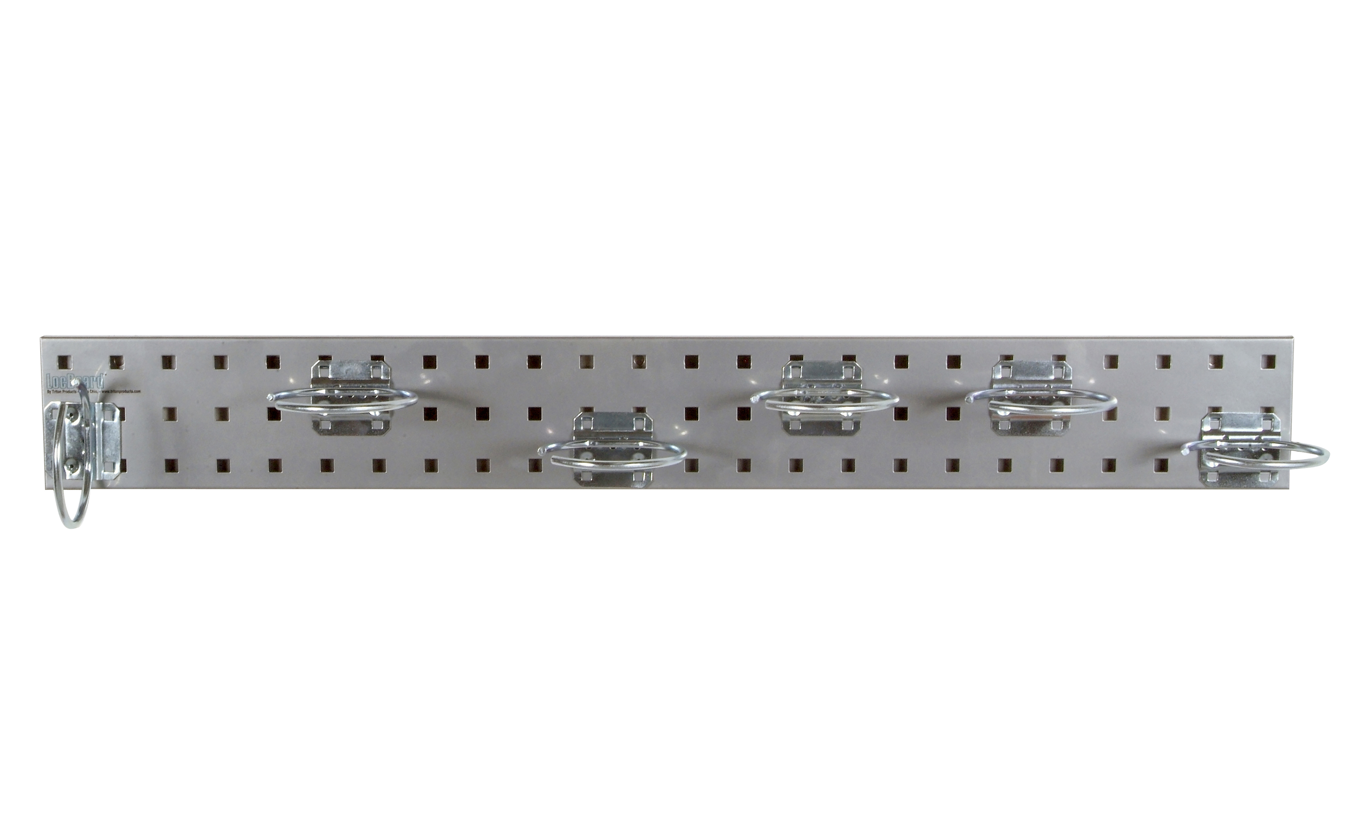 Silver Pneumatic Tool Pegboard Kit with (1) 36 In. x 4.5 In. Steel Square Hole Pegboard and 6 pc LocHook Assortment