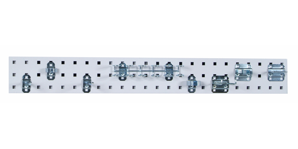 """White Tool Pegboard Kit with (1) 36""""x 4.5""""18 Gauge Steel Square Hole Pegboard and 8 pc LocHook Assortment"""