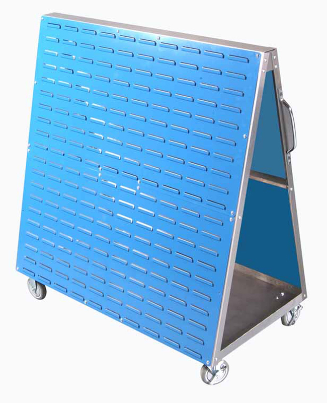 48 In. L x 51-1/2In. H x 29-3/4 In. W Aluminum Frame Mobile Louvered Panel Cart with Louvered Panels for Hanging Bins