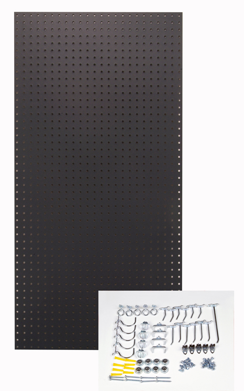 """24"""" W x 48"""" H x 1/4"""" D Custom Painted Jet Black Heavy Duty Tempered Round Hole Pegboards with 36 pc. Locking Hook Assortment"""