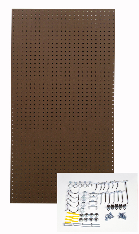 24 In. W x 48 In. H x 1/4 In. D Heavy Duty Commercial Grade Tempered Round Hole Pegboards with 36 pc. Locking Hook Assortment