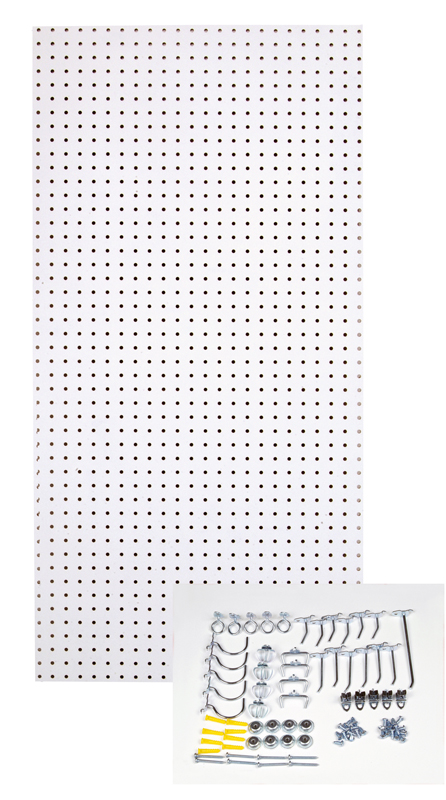 24x48x1/4 Custom Painted Blissful White Heavy Duty Tempered Round Hole Pegboards with 36 pc. Locking Hook Assortment