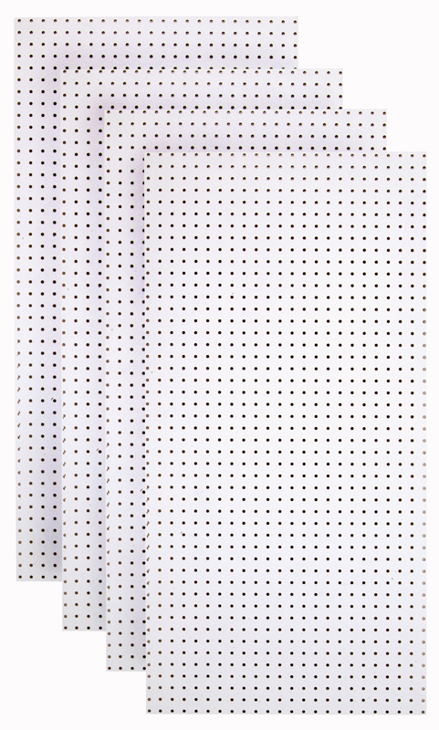 (4) 24 In. W x 48 In. H x 1/4 In. D Custom Painted Blissful White Heavy Duty Tempered Round Hole Pegboards