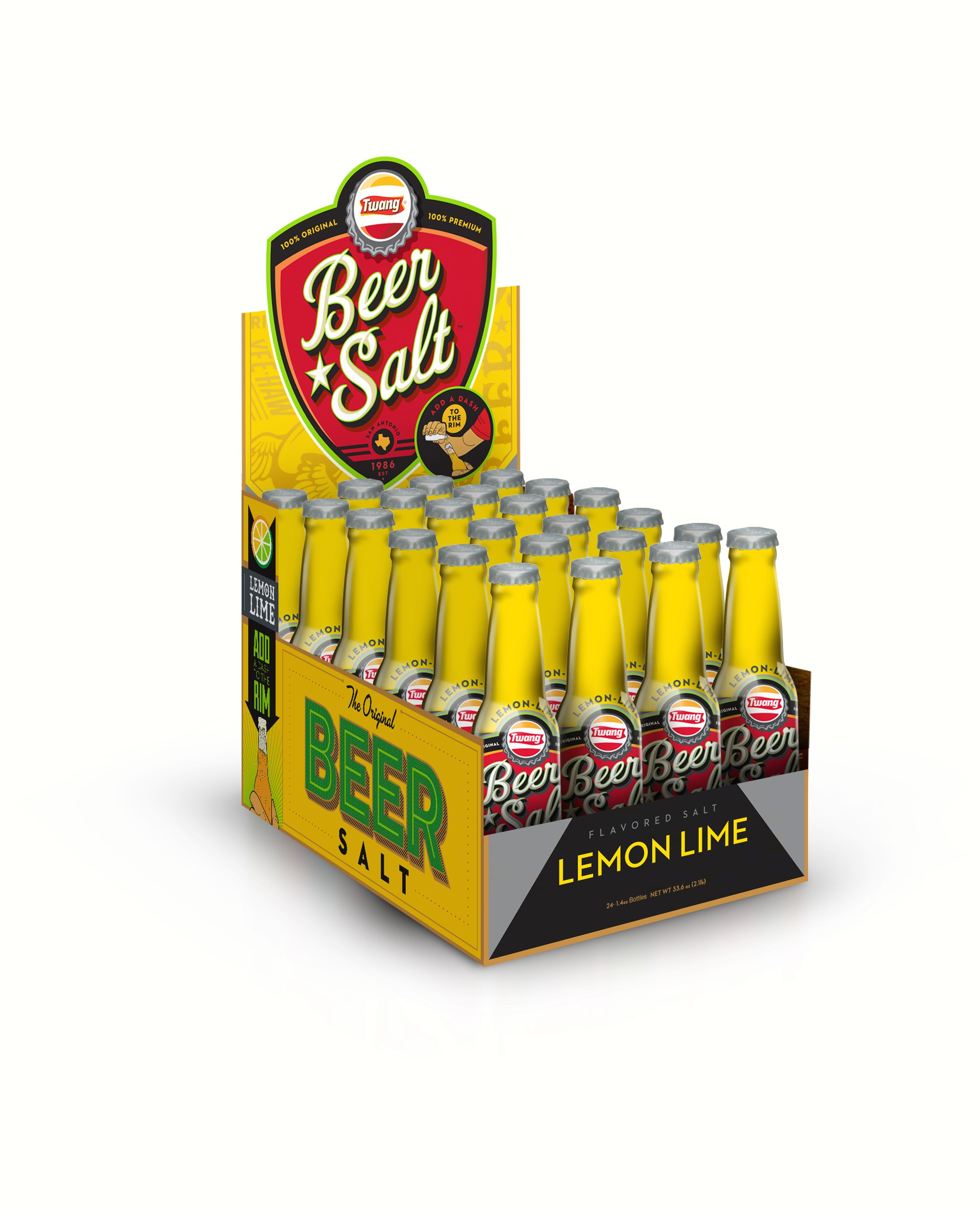 Lemon-Lime Long Neck Counter Display (Beer Salt)