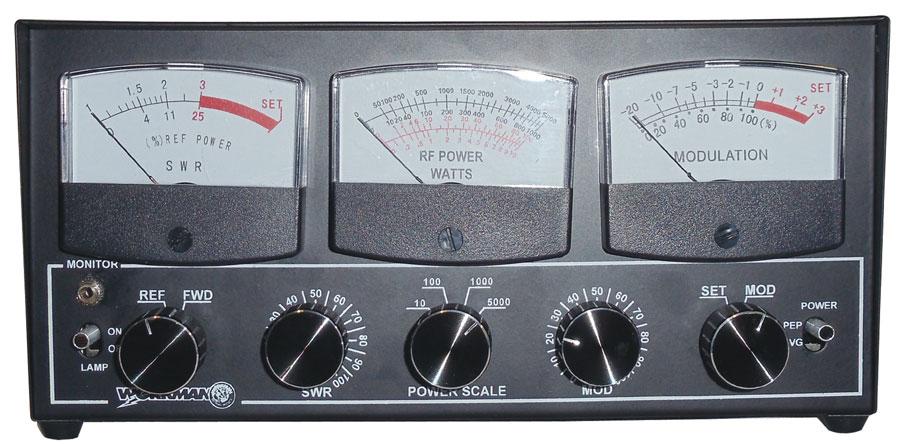 5000 WATT LIGHTED SWR/RF POWER/MOD FREQ METER