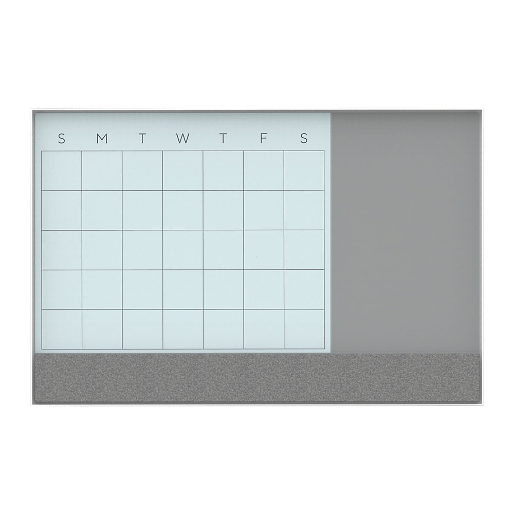 3N1 Magnetic Glass Dry Erase Combo Board, 24 x 18, Month View, White Surface and Frame