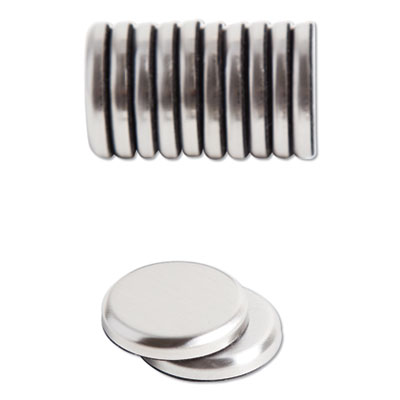 """High Energy Magnets, Circle, Silver, 1.25"""" Dia, 12/Pack"""