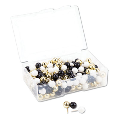 """Fashion Sphere Push Pins, Plastic, Assorted, 7/16"""", 200/Pack"""