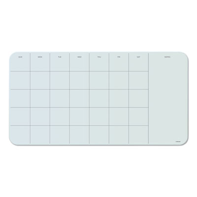 Cubicle Glass Dry Erase Undated Four Week Calendar Board, 23 x 12, White