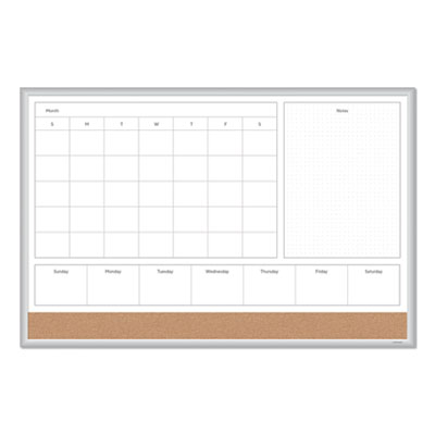 4N1 Magnetic Dry Erase Combo Board, 36 x 24, White/Natural