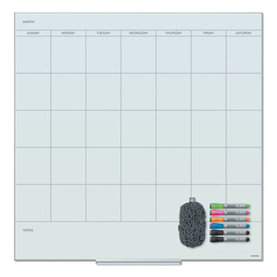 Floating Glass Dry Erase Undated One Month Calendar, 36 x 36, White