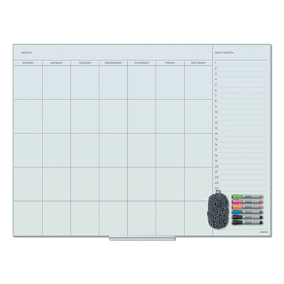 Floating Glass Dry Erase Undated One Month Calendar, 48 x 36, White