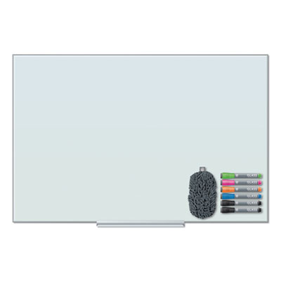 Floating Glass Dry Erase Board, 36 x 24, White