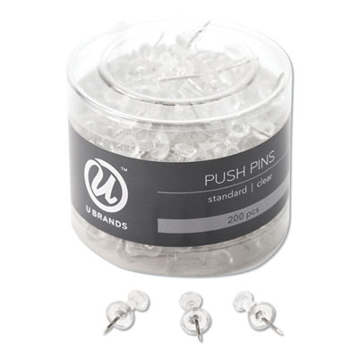 "Standard Push Pins, Plastic, Clear, 7/16"", 200/Pack"