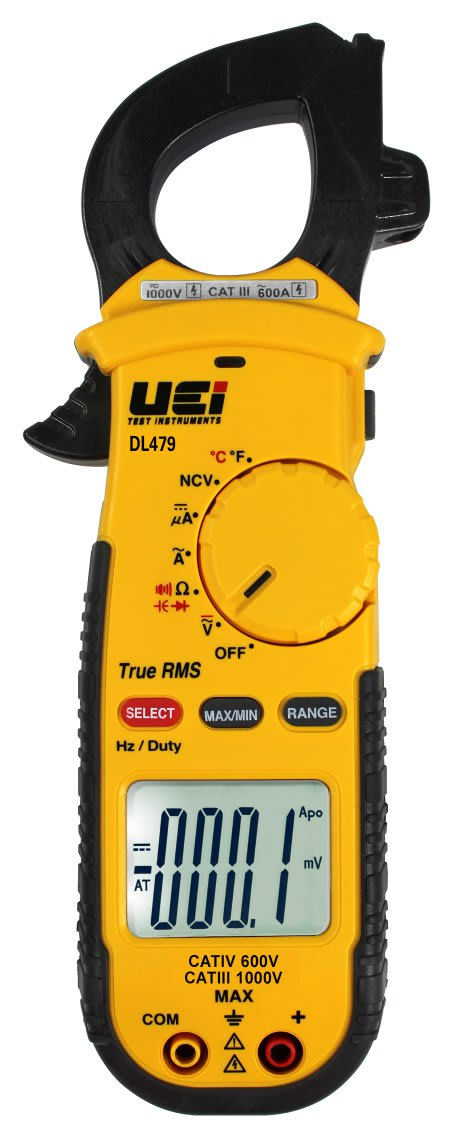 RMS HVAC/R DIGITAL CLAMP METER / MEASURE 600A AC, 750V AC/600V DC, RESISTANCE, MICROAMPS, CAPACITANCE, FREQUENCY, TEMPERATURE