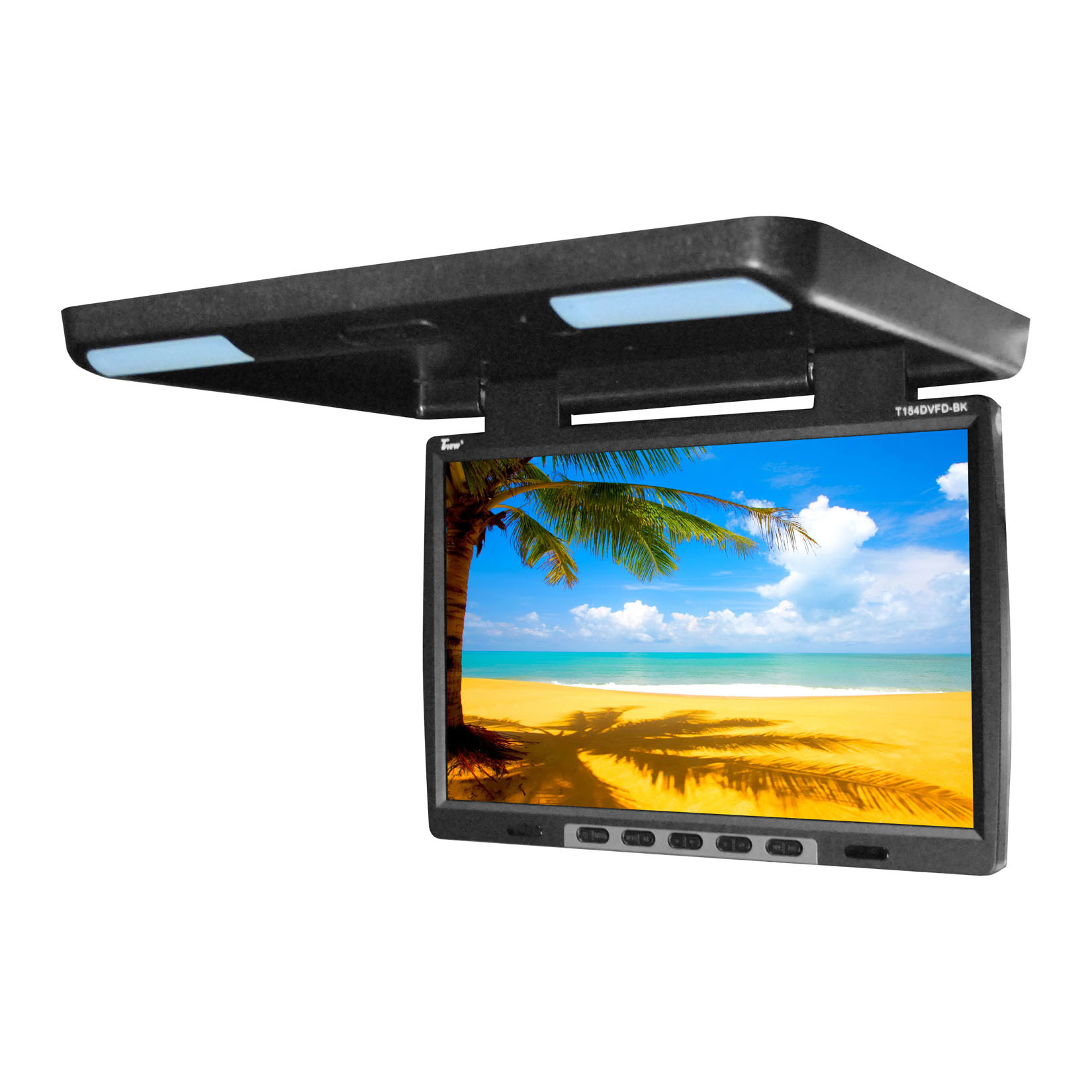 "Tview 15.4"" Flip Down Monitor with built in DVD IR/FM trans Black"