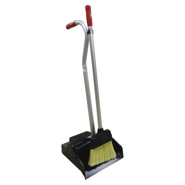 Ergo Dustpan With Broom, 12 Wide, Metal w/Vinyl Coated Handle, Black/Silver