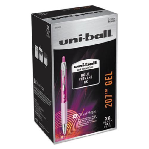 207 Retractable Gel Pen Office Pack, 0.7mm, Black Ink, Pink Barrel, 36/Pack