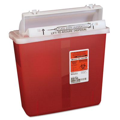 Sharps Containers, Polypropylene, 5 qt, 4 3/4 x 10 3/4 x 11 1/2, Red