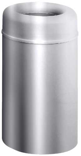 CROWN COLLECTION OPEN-TOP TRASH CAN, SATIN ALUMINUM, 30 GALLONS