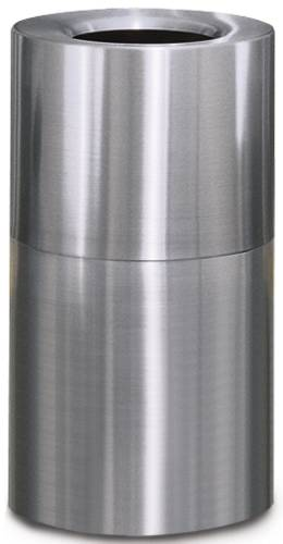 CROWN COLLECTION OPEN-TOP TRASH CAN, SATIN ALUMINUM, 35 GALLONS