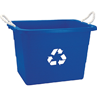 United Solutions TU0105 Rectangular Recycling Tub, 19 gal, 16 in H, Blue