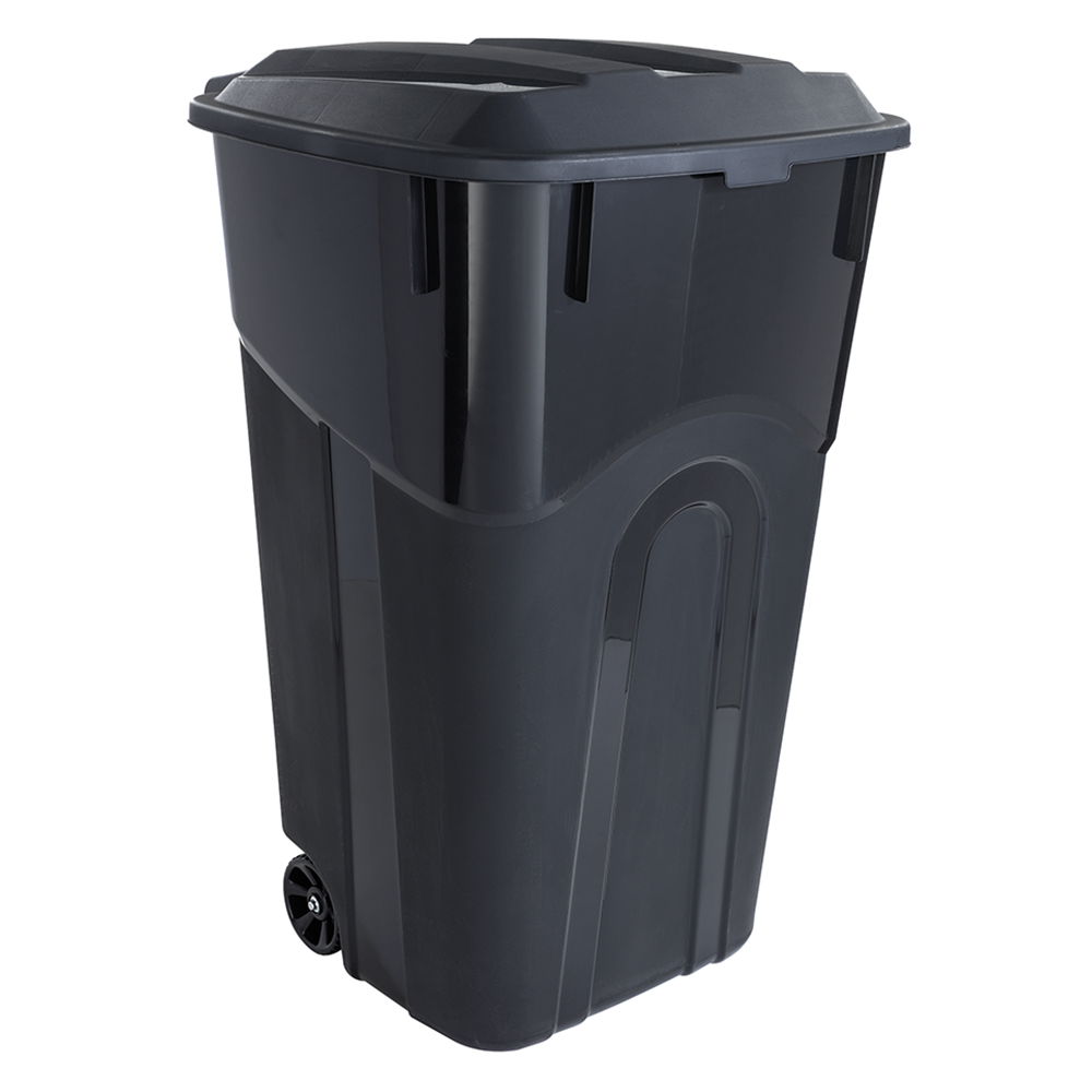 CAN TRASH WHEELED BLACK 32 GAL
