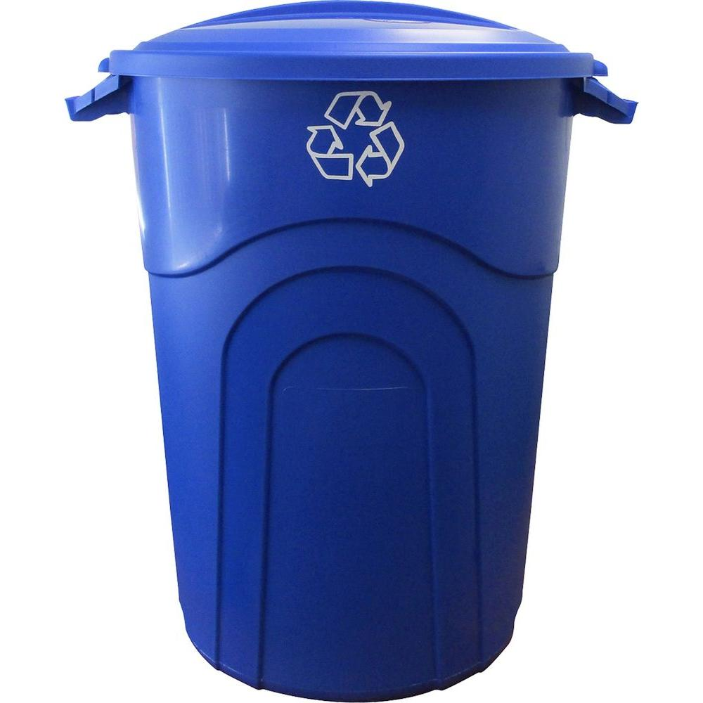 CAN RECYCLING BLUE 32 GALLON