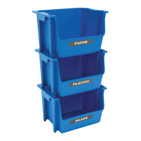 EcoSense SB0028 Recycling Stack Bin, 18.8 in Length X 16 in Width X 12.6 in Height, Plastic, Blue